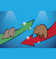 bull and bear with financial graph vector image