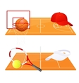 Tennis and basketball backgrounds vector image