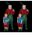 father with son in different moods happy and sad vector image