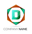 letter d symbol in the colorful hexagonal vector image