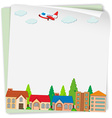 Paper design with airplane and houses vector image