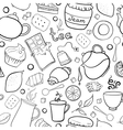 Tea and sweets black and white seamless pattern vector image