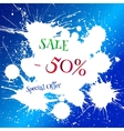 white blot with Sale tag over bright blue vector image