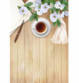 top view background with white flowers vector image