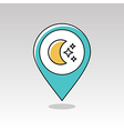 Moon and stars pin map icon Meteorology Weather vector image