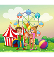 A family at the carnival vector image