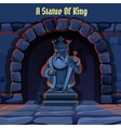 Ancient stone statue of king in the dungeon vector image