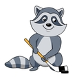 Cartoon raccoon with hockey stick and puck vector image