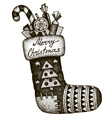 Hand drawn Christmas sock with gifts vector image