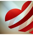 Ribbon red heart with light vector image