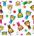 seamless pattern cartoon hand drawn doodles girl vector image