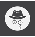 Unknown man in hat glasses and a magnifying glass vector image