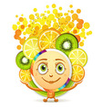 Slices of fruits with a smiley face vector image vector image
