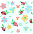 background with flowers and ladybird vector image
