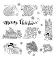 set of doodles christmas decorations and design vector image