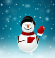 Smiley snowman with mittens vector image