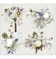 vintage floral frames set vector image vector image