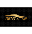 Golden car logo on floral texture vector image