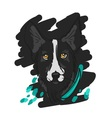 Hand drawn of black dog in sketch vector image