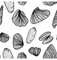 seamless monochrome pattern with sea shells vector image
