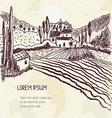 Vintage farm landscape - hand drawn sketch vector image