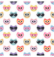 seamless pattern with cute cats with sunglasses vector image vector image