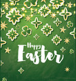 happy easter card with green flowers and neon vector image