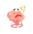 humanized thinking cartoon brain character vector image