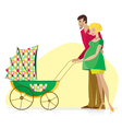 Happy couple carried baby stroller vector image vector image