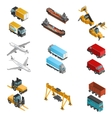Cargo Transport Isometric Icons Set vector image