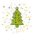 colored christmas tree icon in thin line style vector image