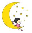 fairy sitting on the moon vector image
