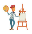 french painter with palette and easle with canvas vector image