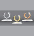 gold silver bronze laurel wreath on platform on vector image