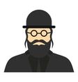 Jewish rabbi icon flat style vector image