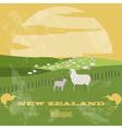 New Zealand landmarks Retro styled image vector image