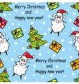 seamless pattern with sheep gifts and Christmas t vector image