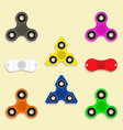 set hand spinner toys flat icons vector image