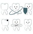 six icons of teeth vector image