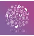 Yoga symbols in round label shape vector image