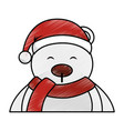 polar bear with winter hat vector image