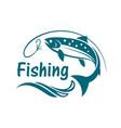 salmon fishing emblem vector image