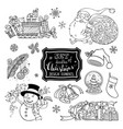 set of doodles christmas design elements isolated vector image