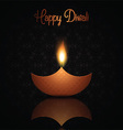 Diwali background with burning oil lamp vector image vector image
