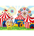 A monster at the carnival wearing a safety helmet vector image