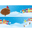Set of horizontal banners with small fairy town vector image vector image