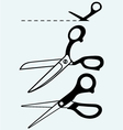 Scissors with cut lines vector image