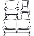 set of vintage furniture vector image