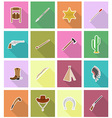 wild west flat icons 18 vector image