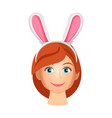 woman wearing bunny years vector image